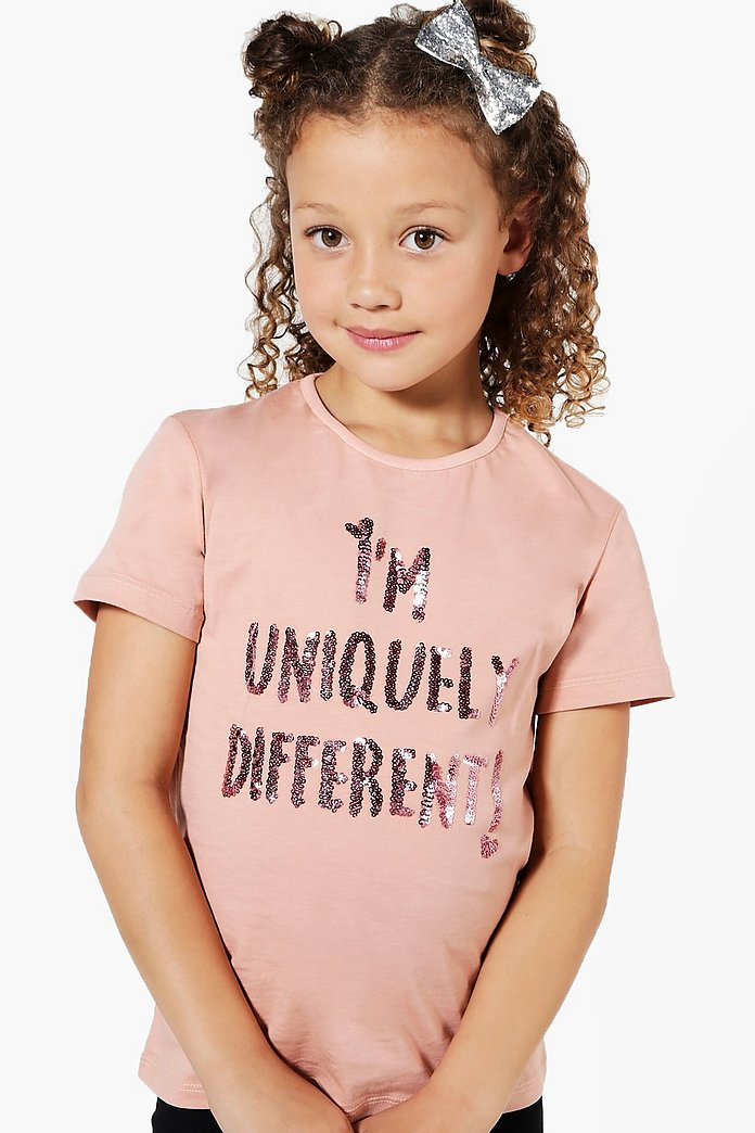 Girls I'm Uniquely Different Glitter Tee