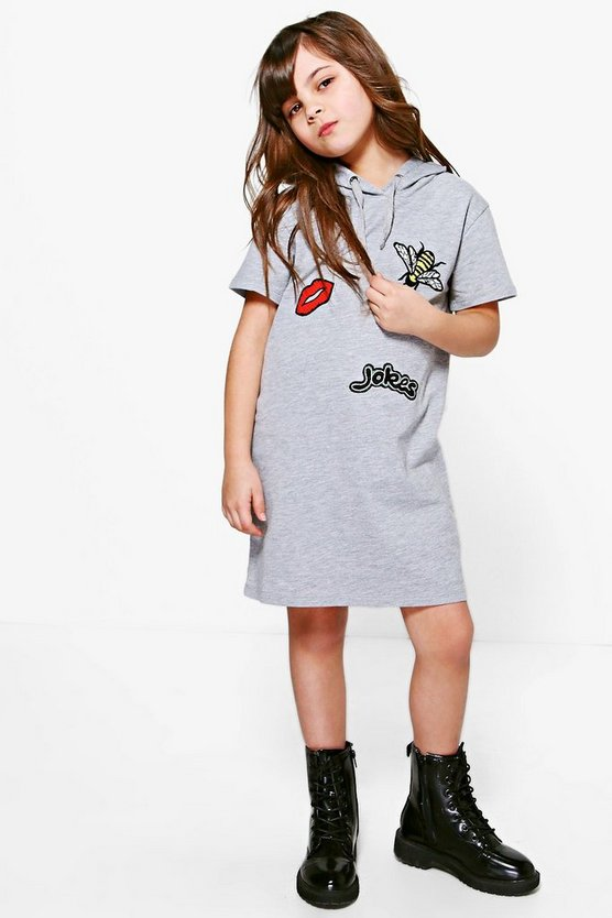 Girls Cap Sleeve Badge Sweat Dress