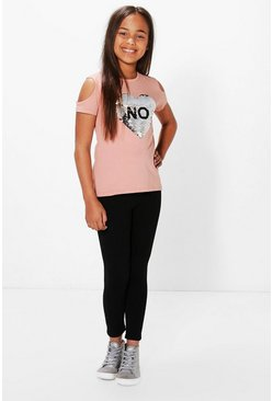 Girls Yes Or No Cold Shoulder Top & Legging Set
