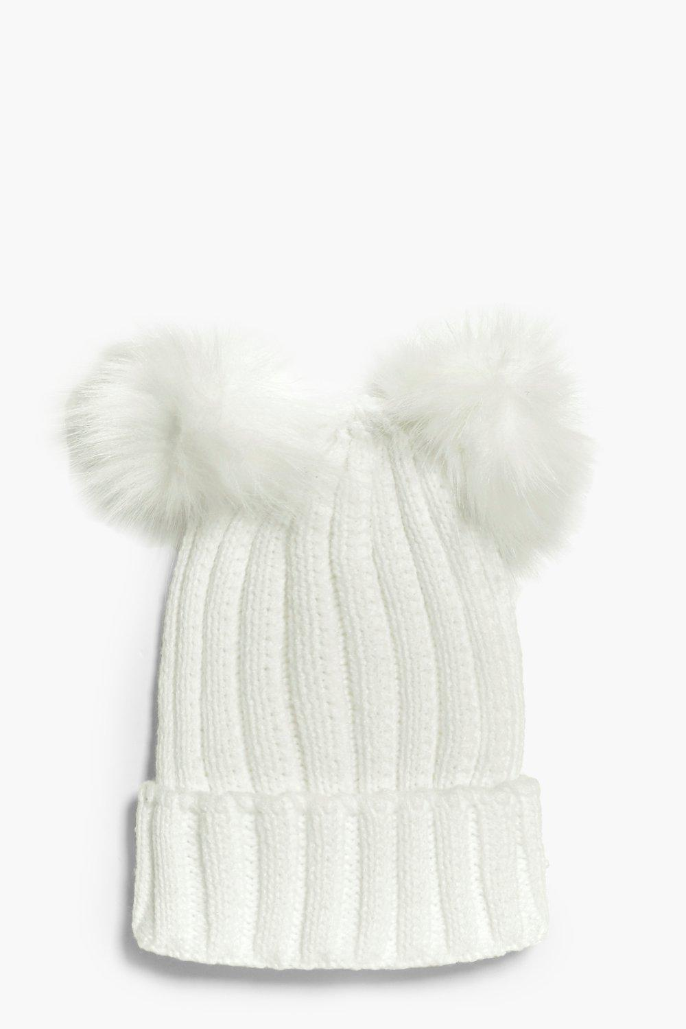 Double Pom Hat - white - Girls Double Pom Hat - wh