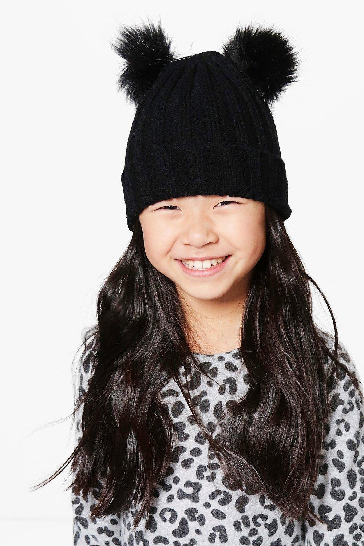 Double Pom Hat  black