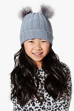 Girls Double Pom Hat