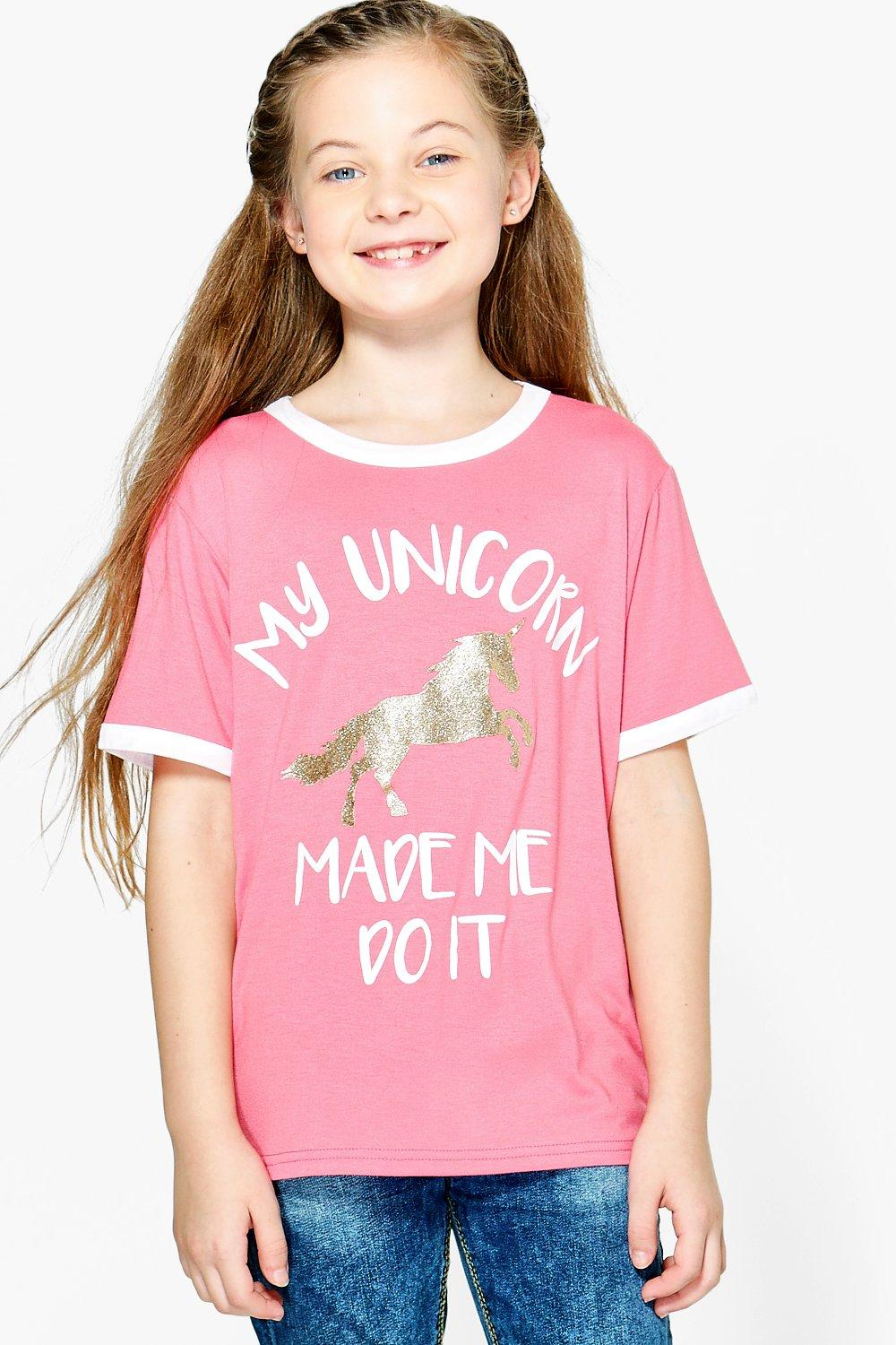 Product photo of My unicorn made me do it tee coral