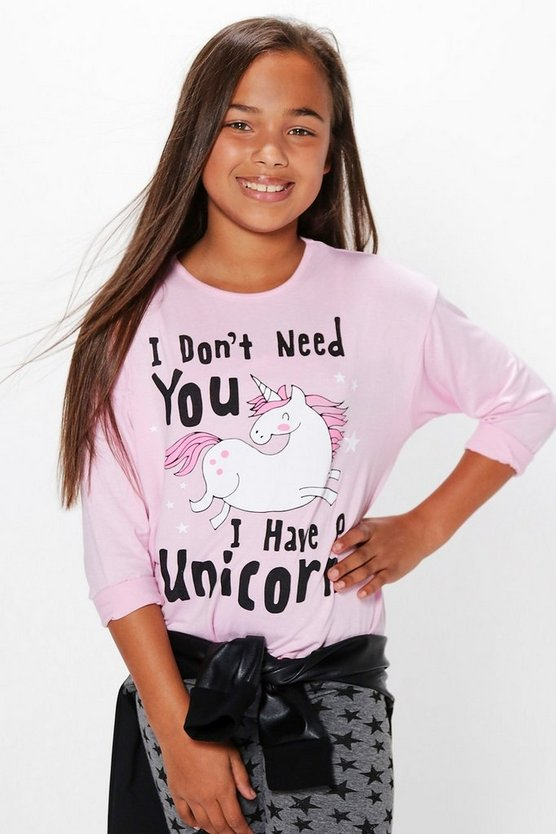 Girls Unicorn Placement Long Sleeve Top