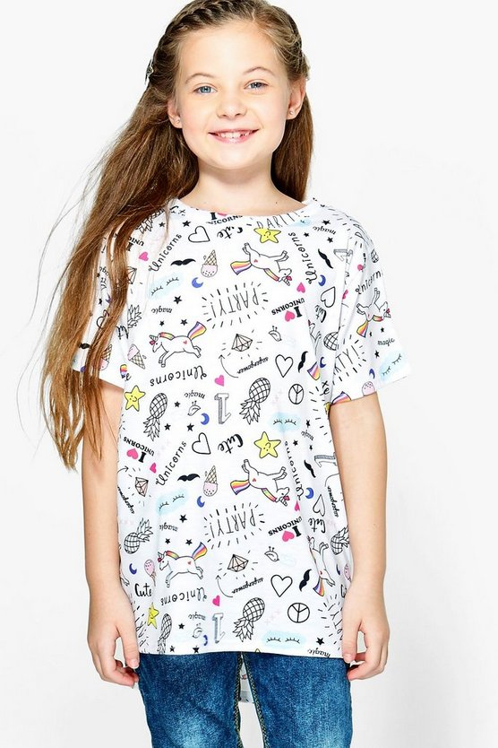 Girls All Over Print Unicorn Tee