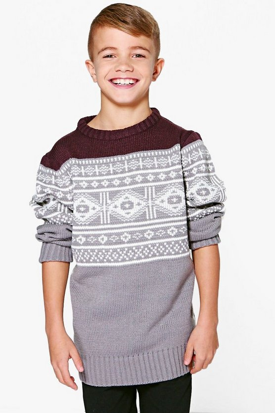 Boys Fairisle Knitted Winter Jumper