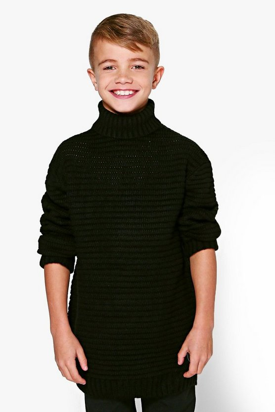 Boys Thick Knit Roll Neck Jumper