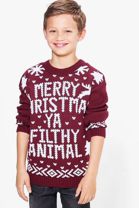 Boys Filthy Animal Christmas Jumper