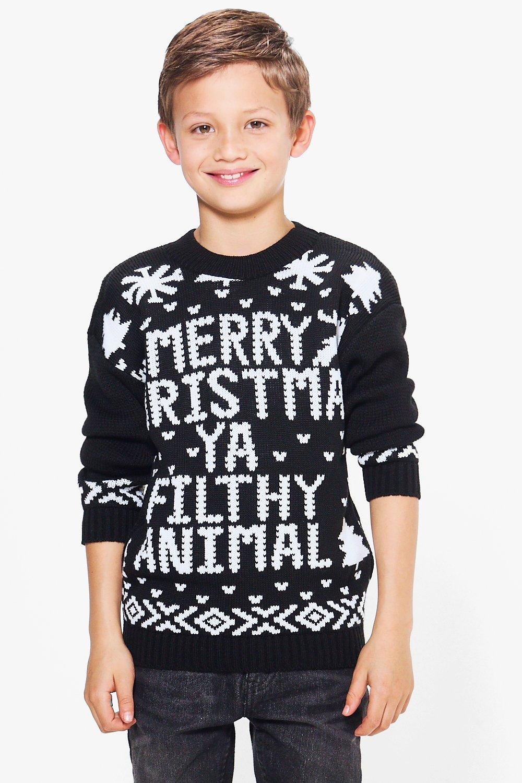 Filthy Animal Christmas Jumper  black