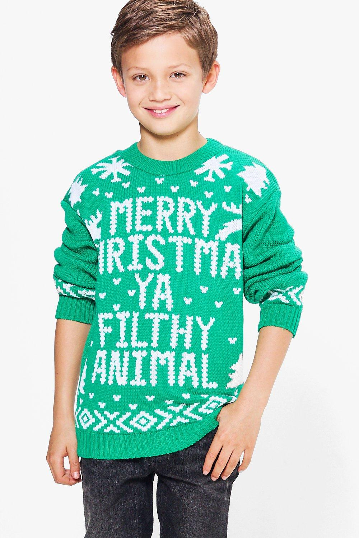 Filthy Animal Christmas Jumper  green