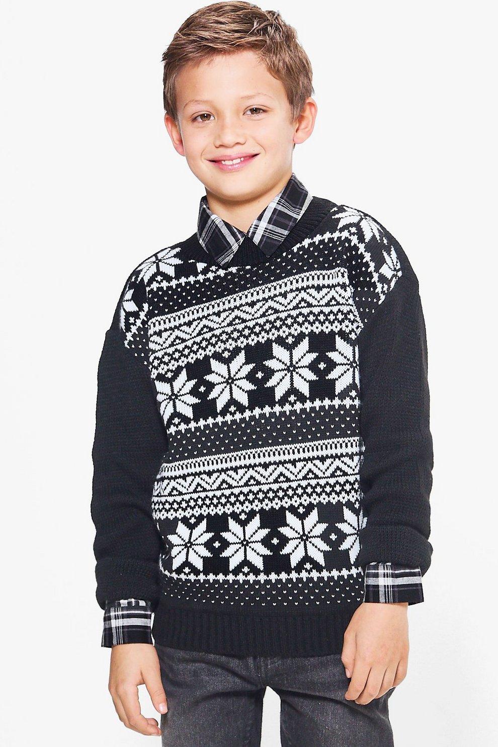 Boys Fairisle Knitted Christmas Jumper   Boohoo
