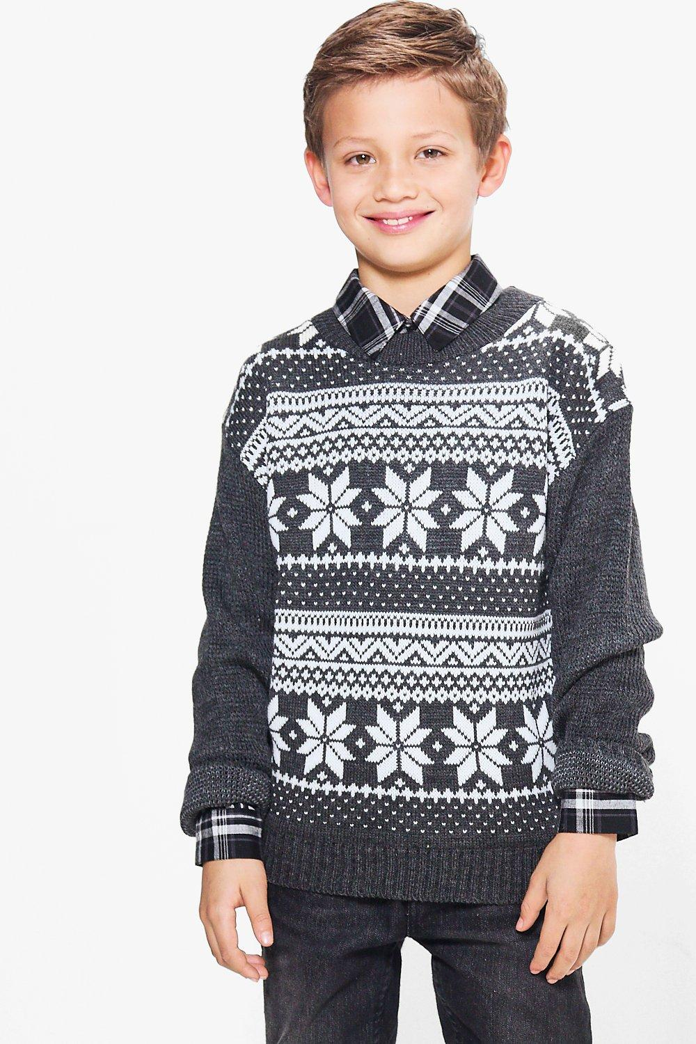 Fairisle Knitted Christmas Jumper  charcoal