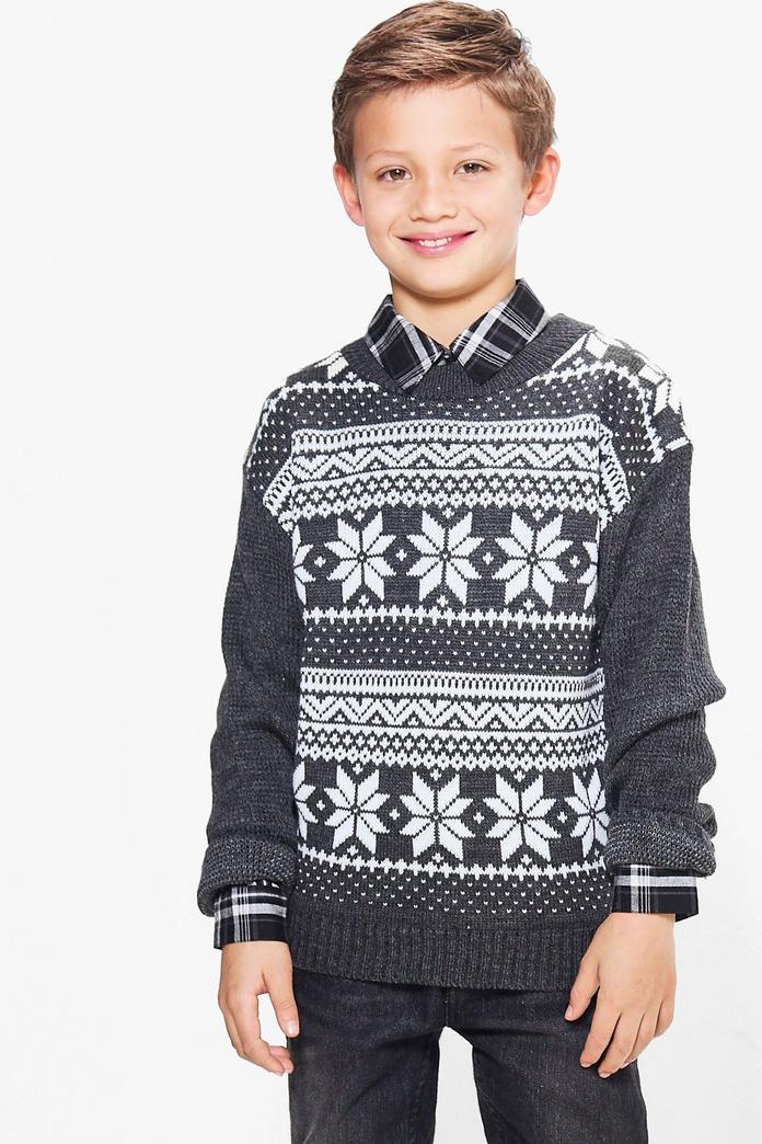 boys fairisle knitted christmas jumper boohoo. Black Bedroom Furniture Sets. Home Design Ideas