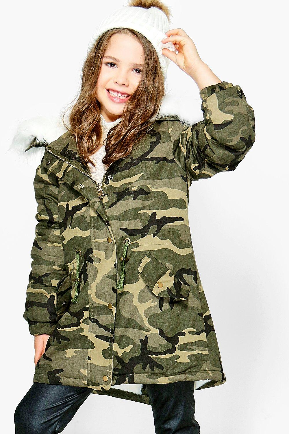 Girls Camo Faux Fur Hooded Parka