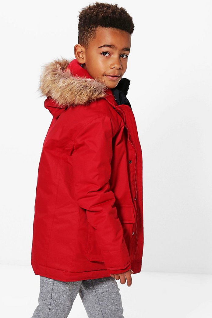 Boys Faux Fur Hooded Double Padded Coat