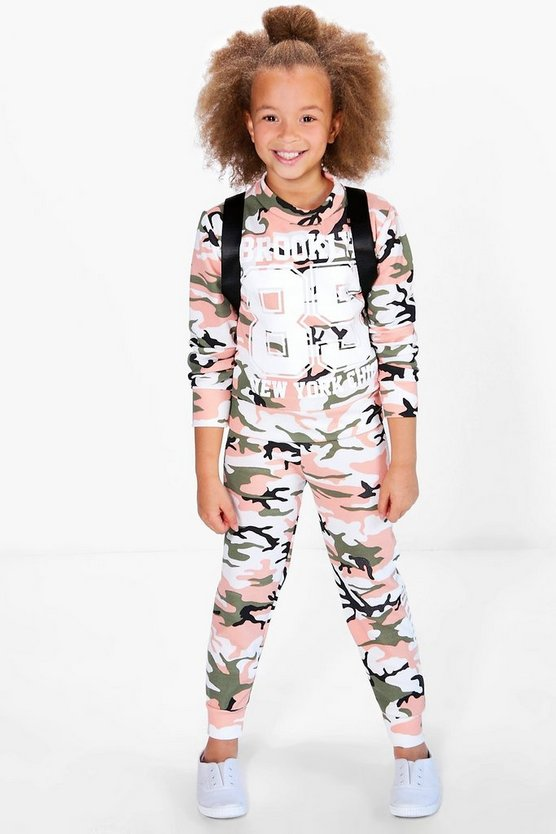 Girls Camo Slogan Tracksuit