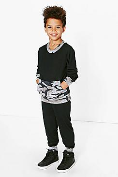 Boys Contrast Camo Knitted Tracksuit