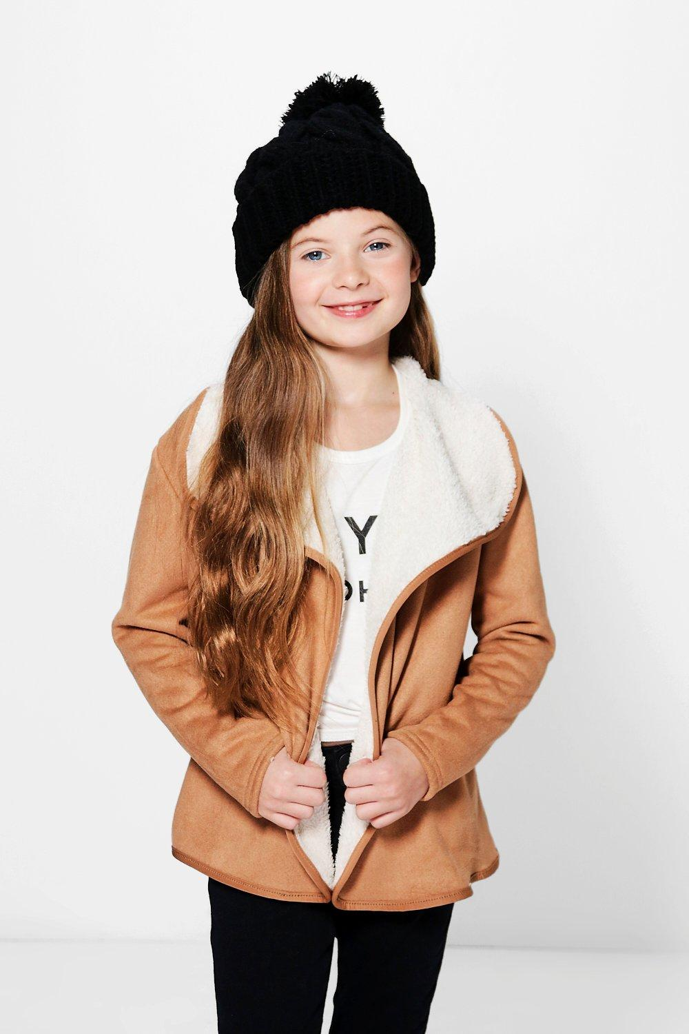 Girls Waterfall Faux Fur Lined Jacket