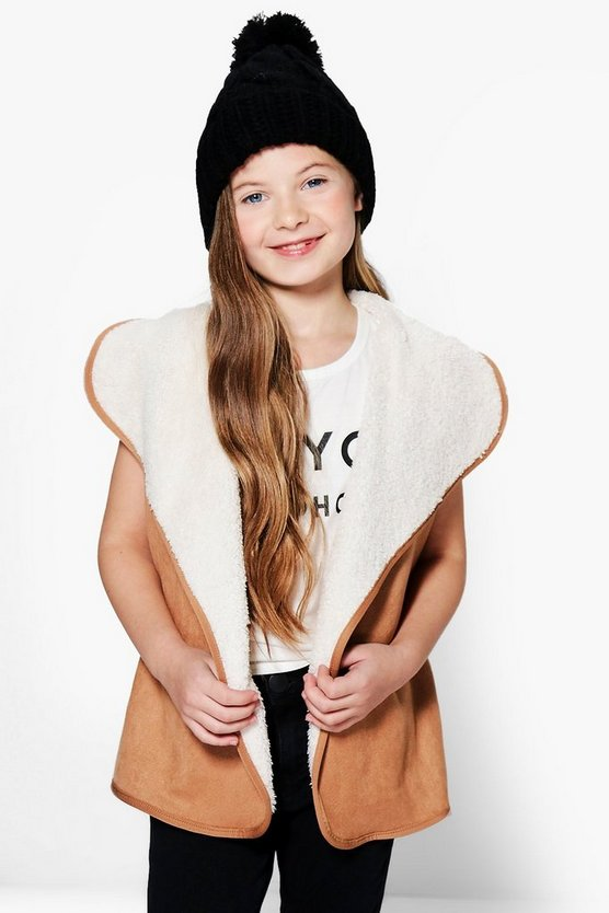 Girls Waterfall Faux Fur Lined Gilet