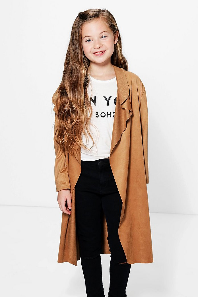 Girls Suedette Waterfall Duster