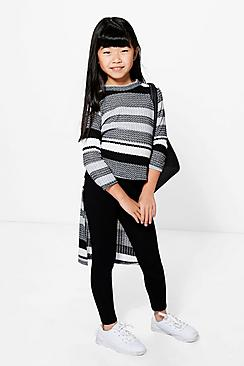 Girls High Low Knitted Stripe Top & Legging Set