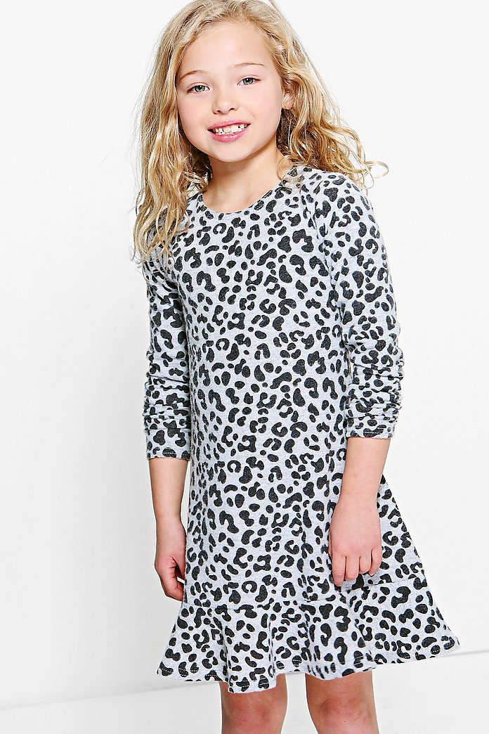 Girls Knitted Leopard Print Dress