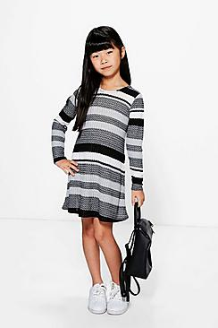 Girls Stripe Knitted Swing Dress