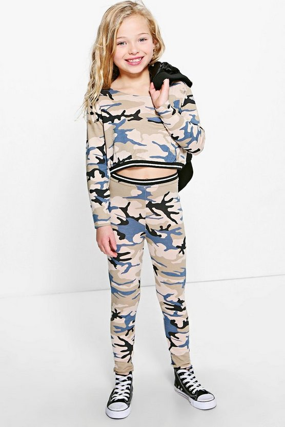 Girls Camo Top & Legging Set