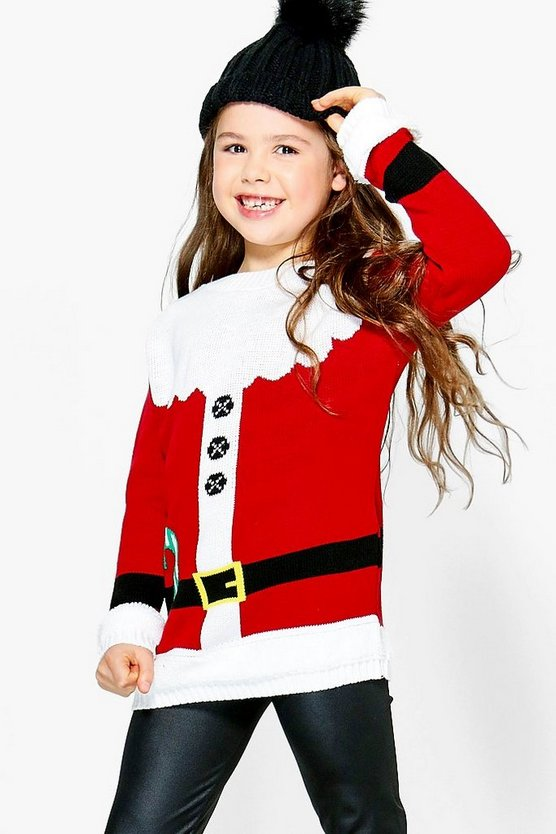 Girls Santa Outfit Christmas Jumper