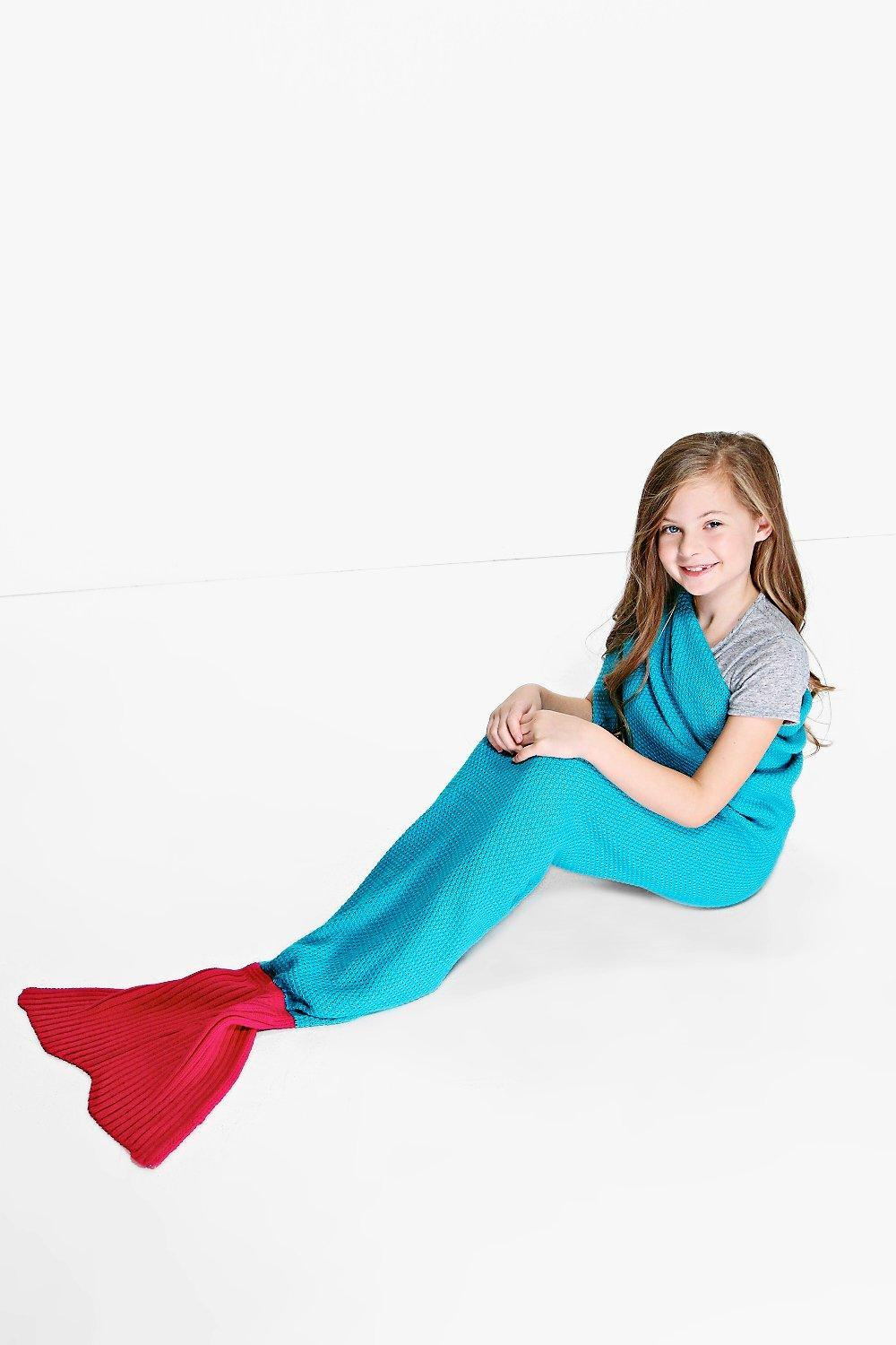 Contrast Mermaid Tail Blanket - aqua - Girls Contr