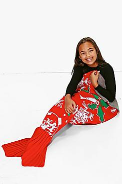 Girls Christmas Mermaid Tail Blanket