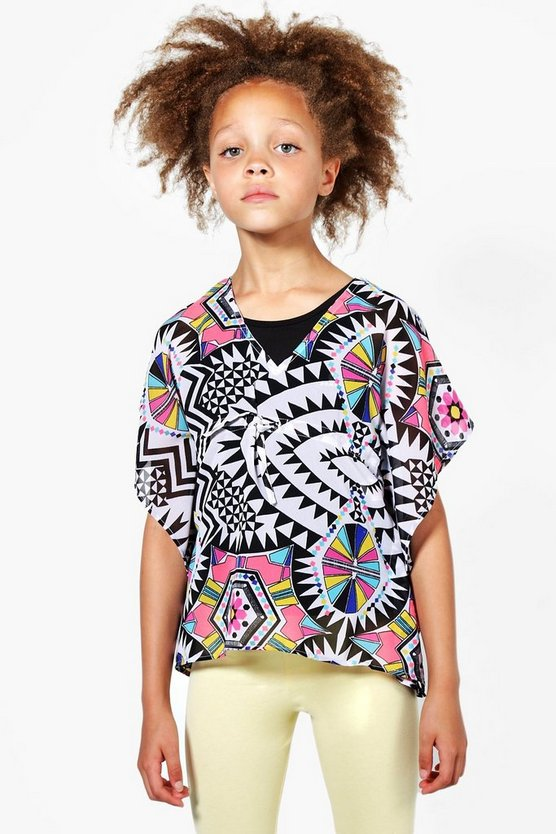 Girls Multicolour Print Kaftan