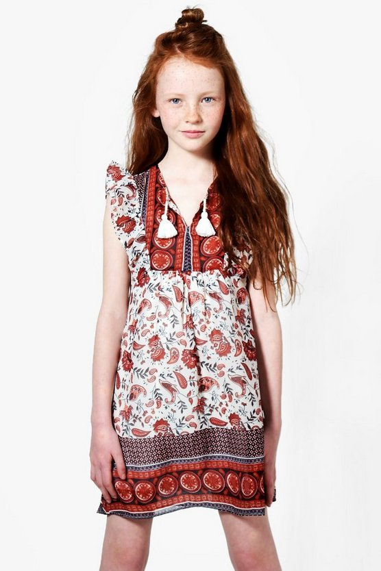 Girls Border Print Tunic Dress