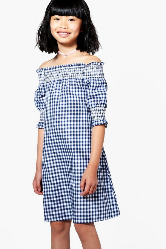 Girls Gingham Smocked Dress
