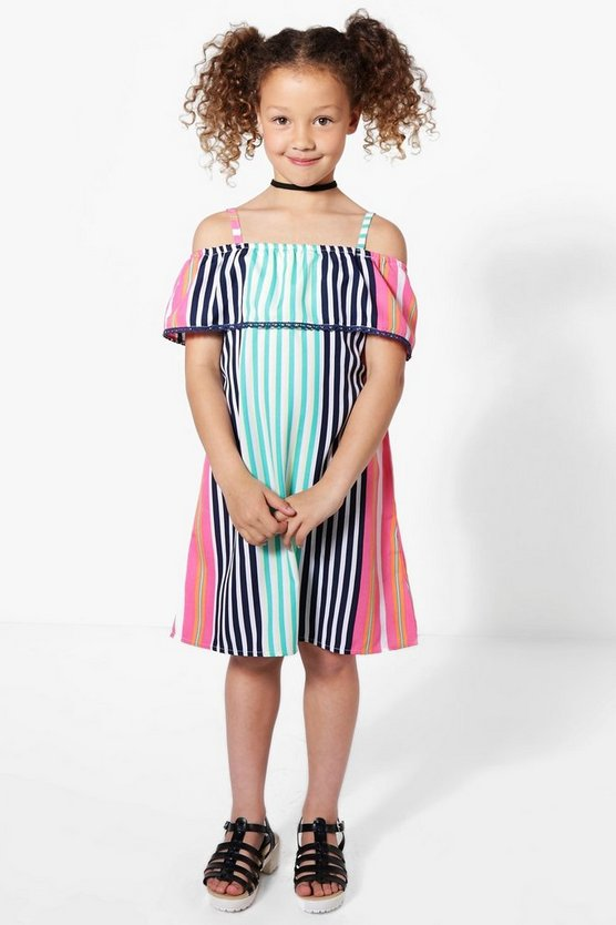 Girls Striped Tassle Trim Sun Dress