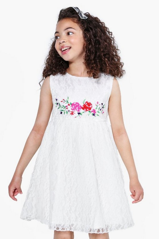 Girls Boutique Embroidered Lace Dress