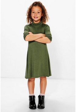 Girls Basic Polo Neck Swing Dress