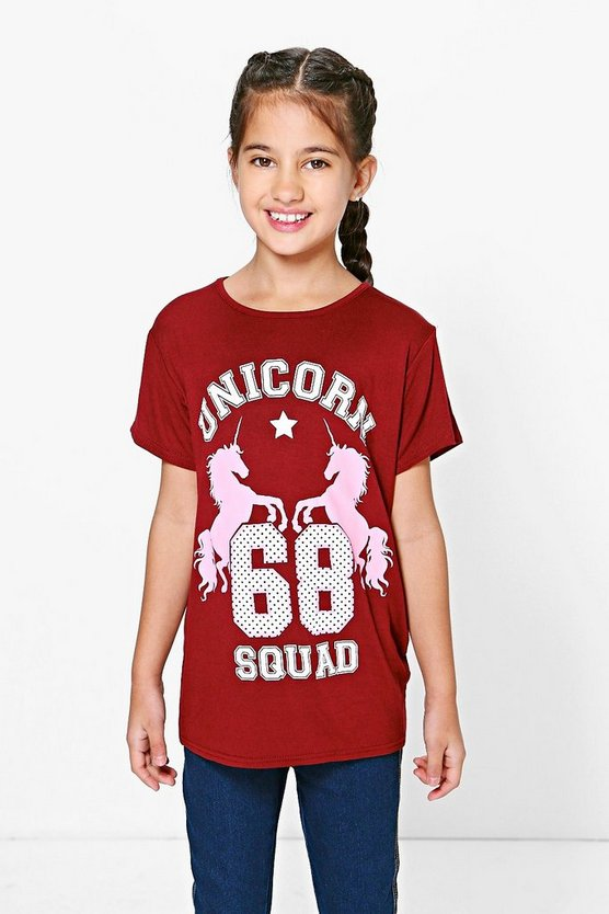 Girls Oversized Unicorn Tee