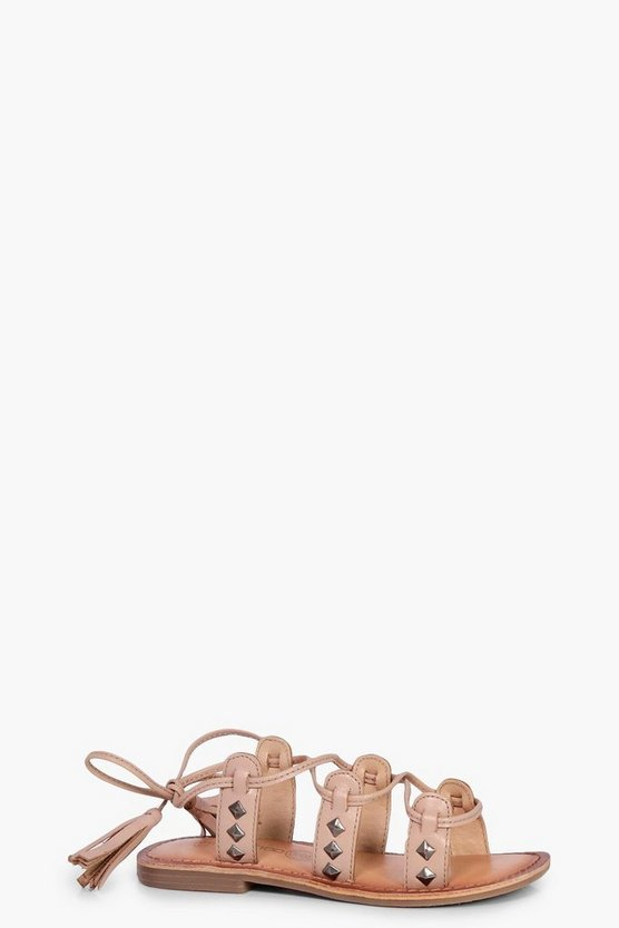 Girls Leather Stud Lace Up Sandal