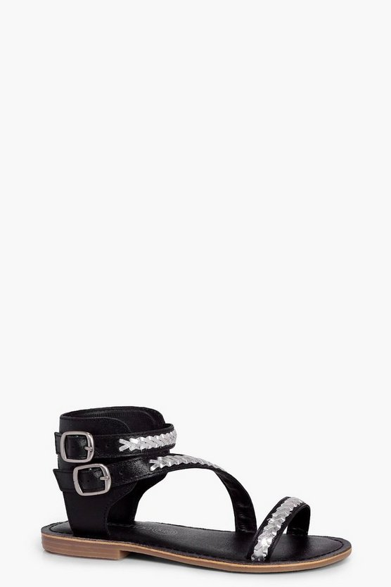 Girls Leather Plait Detail Cuff Sandal