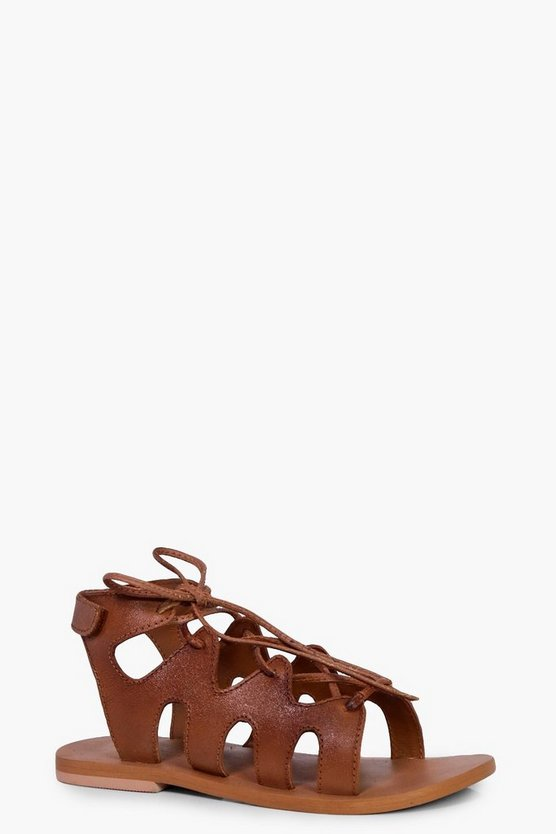 Girls Leather Lace Up Sandal