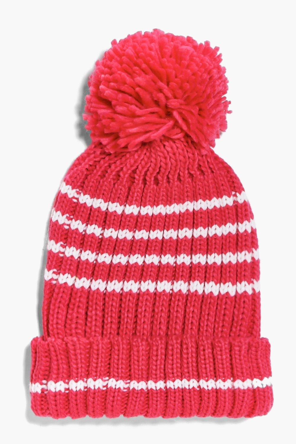 Knitted Pom Pom Hat - raspberry - Girls Knitted Po