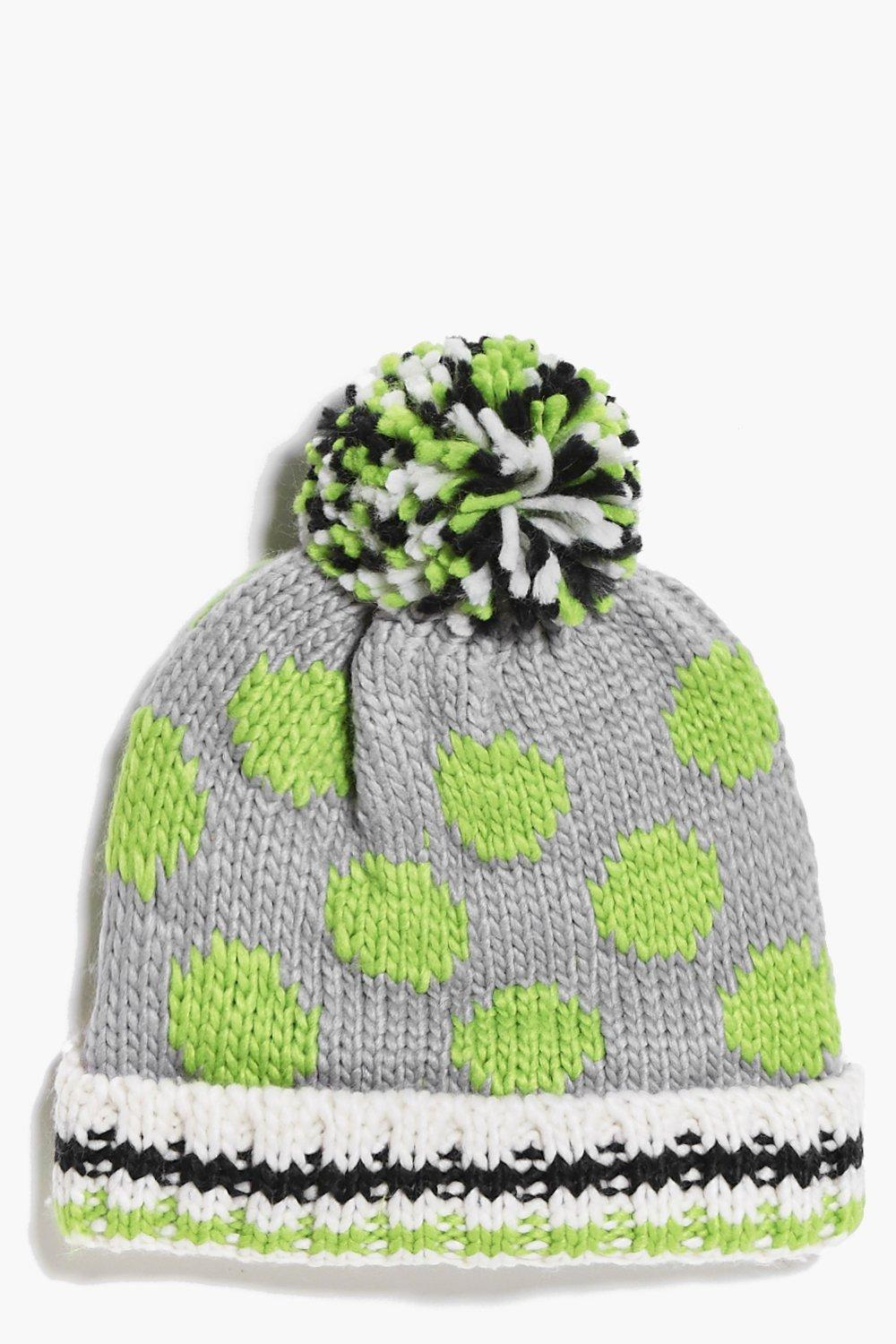Spotty Pom Pom Hat - grey - Girls Spotty Pom Pom H