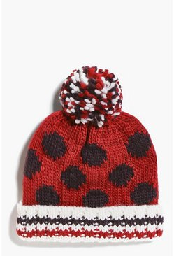 Girls Spotty Pom Pom Hat