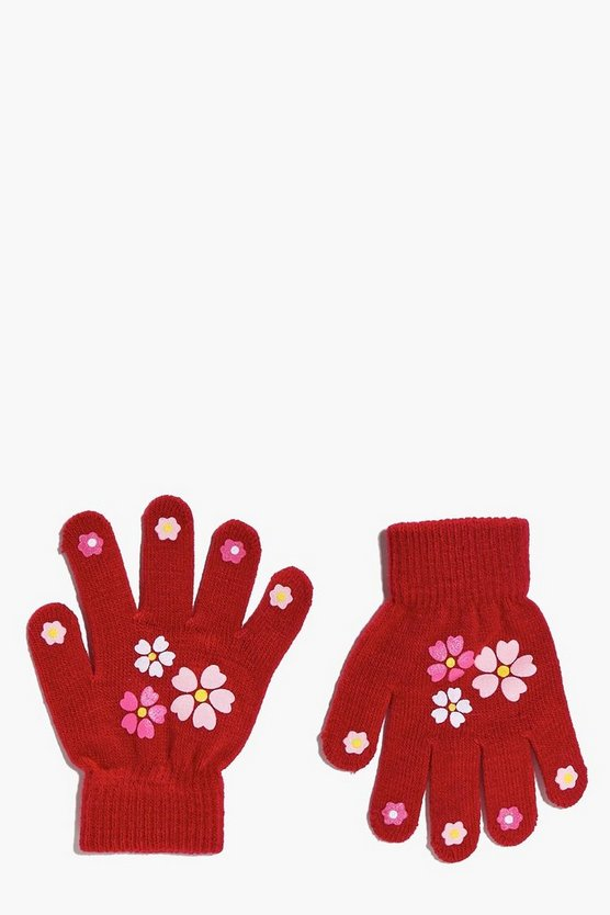 Girls Printed Magic Gloves