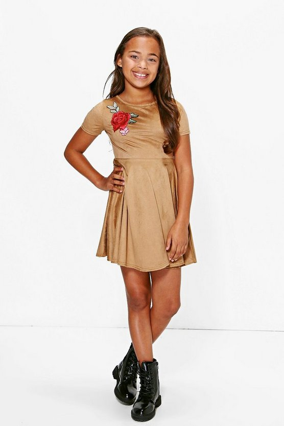 Girls Suedette Floral Embroidered Skater Dress