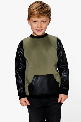 Boys Faux Leather Patch Jumper