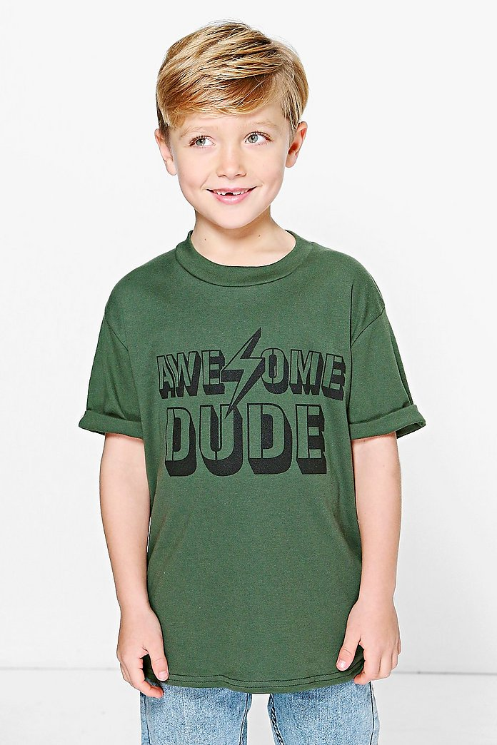 Boys Roll Back Sleeve Awesome Tee