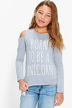 Girls Cold Shoulder Unicorn Tee