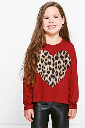 Girls Dip Hem Printed Heart Long Sleeve Tee